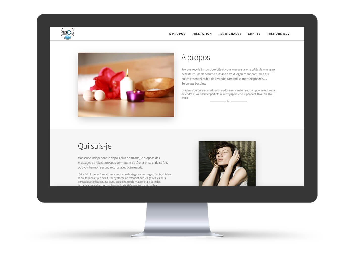 page du site vitrine zen essenciel massage