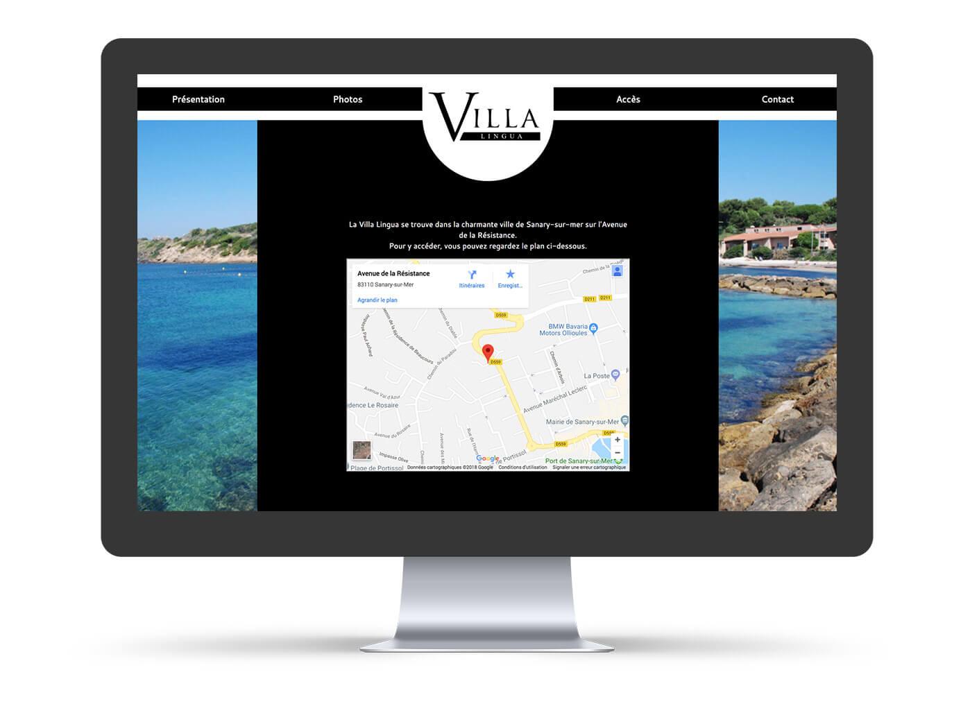 création site web vitrine villa lingua sur ordinateur