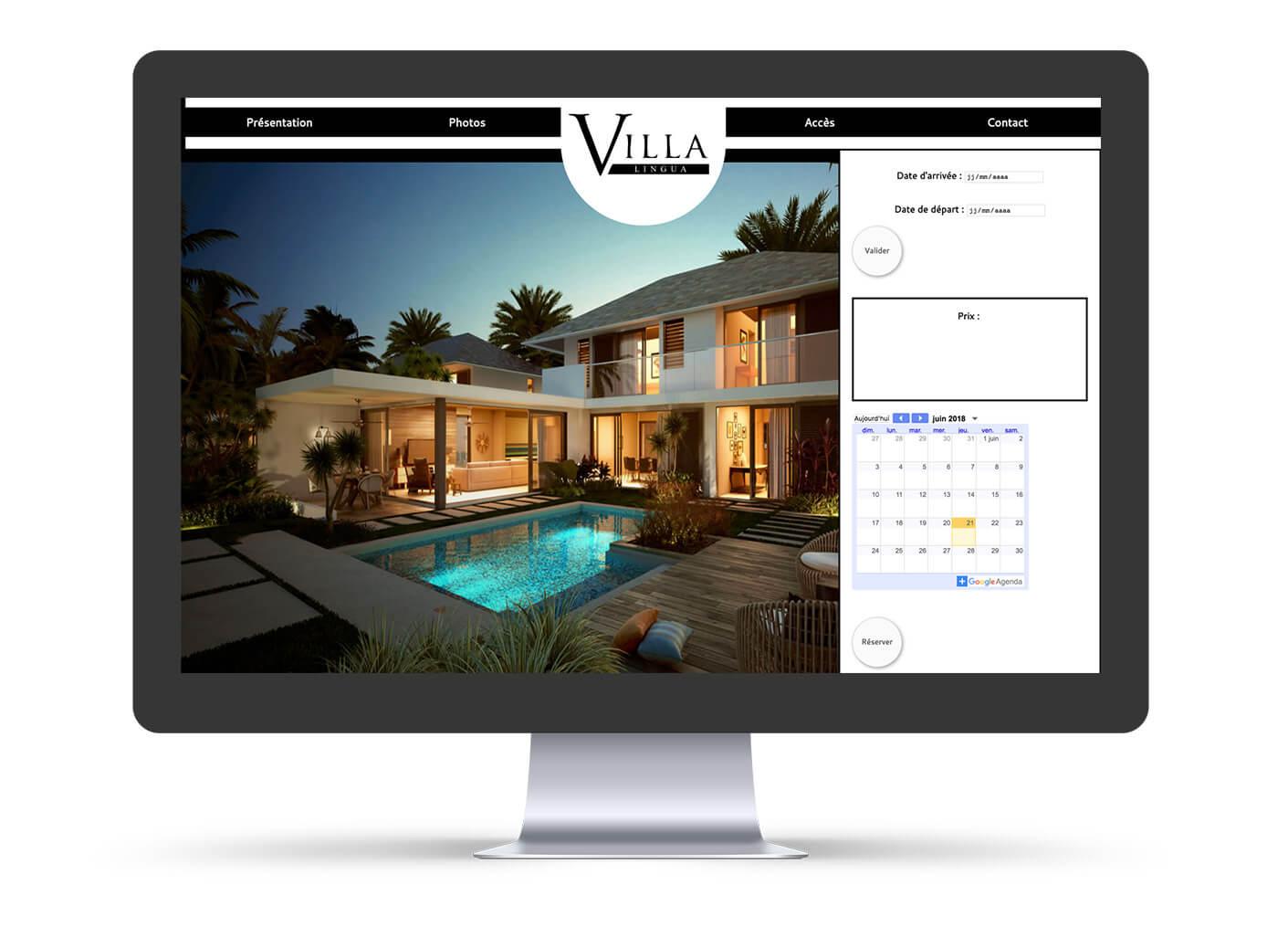 création site web villa lingua sur ordinateur