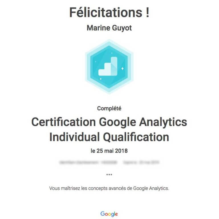 certificat google analytics individual qualification