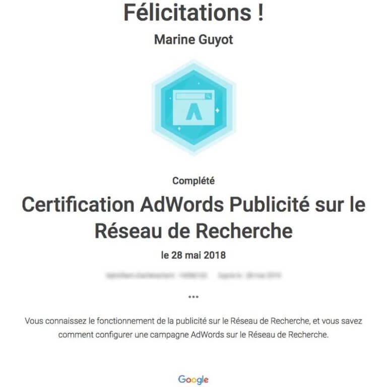 certificat adwords publicité sur réseau de recherche