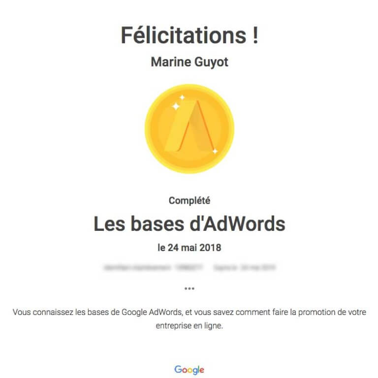 certificat bases adwords