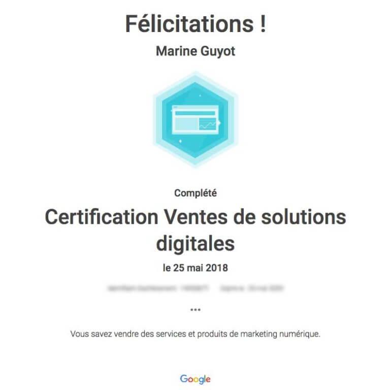 certificat ventes de solutions digitales
