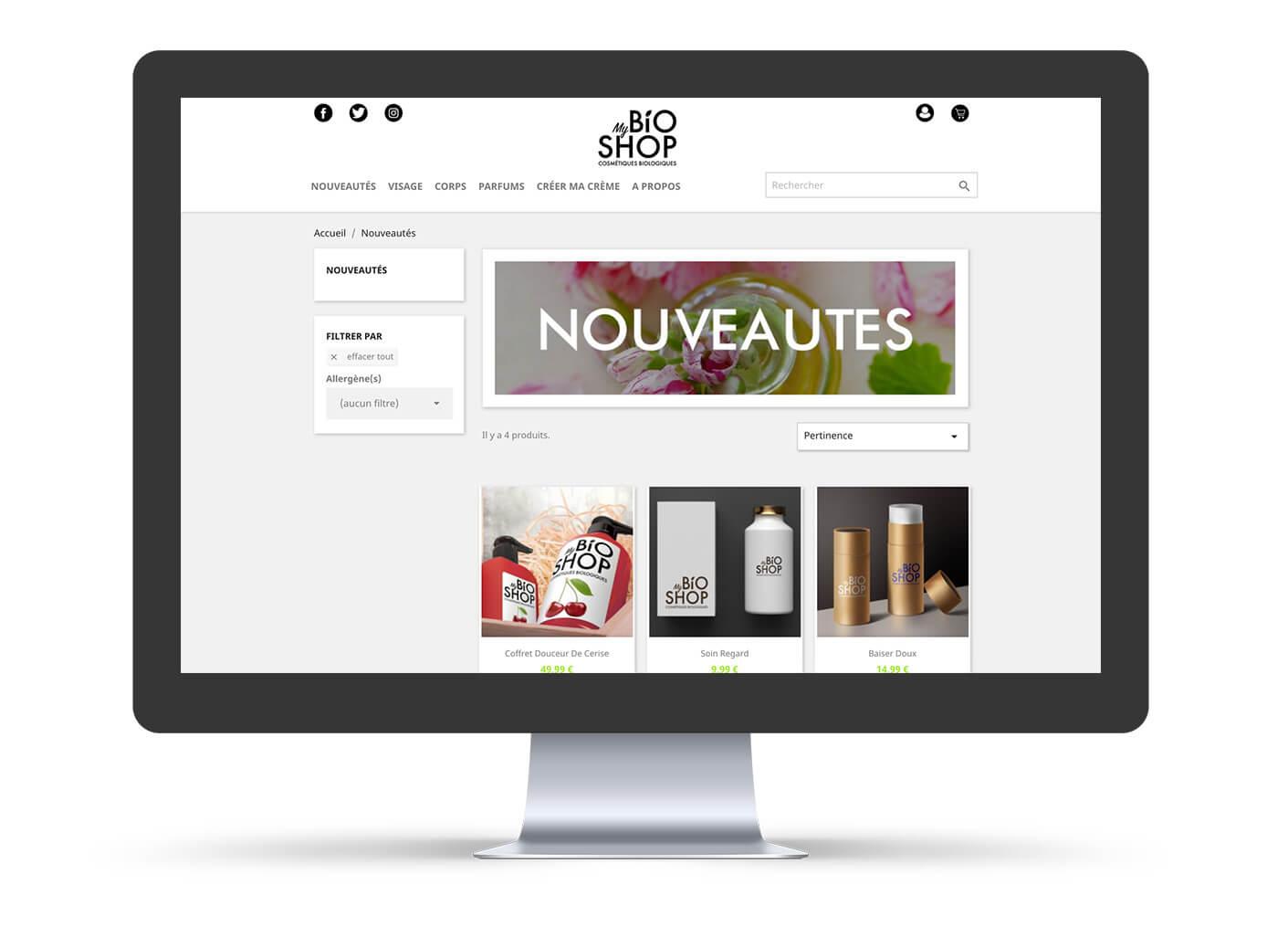 page nouveauté site e-commerce my bio shop